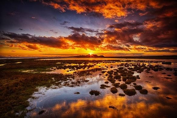 Solnedgang over Kalø slotsruin